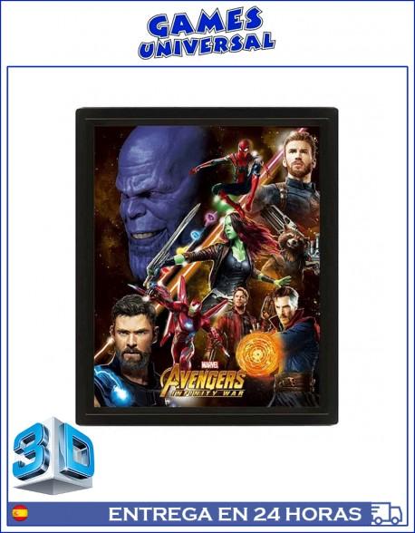 Avengers Marvel Infinity War Vengadores cuadro en 3D