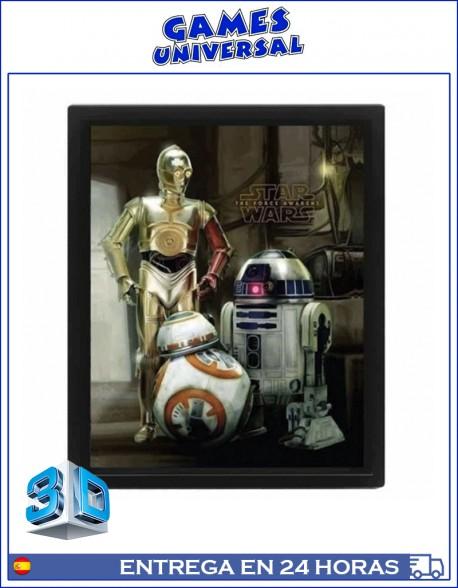 Star Wars R2D2 C3PO BB8 Cuadro en 3D