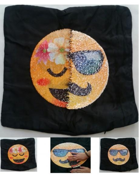 Funda almohada cojín lentejuelas emoticonos 40 x 40 cm flower power