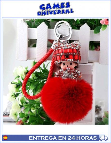 Monchichi Llavero colgante  Pom Pom minimon color rojo