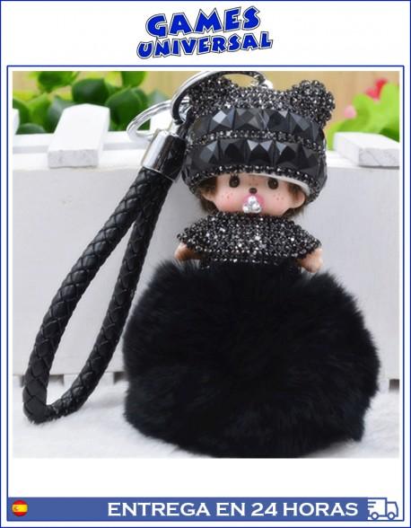 Monchichi Llavero colgante  Pom Pom minimon color negro