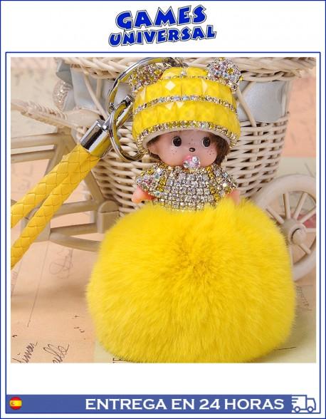 Monchichi Llavero colgante  Pom Pom minimon color amarillo